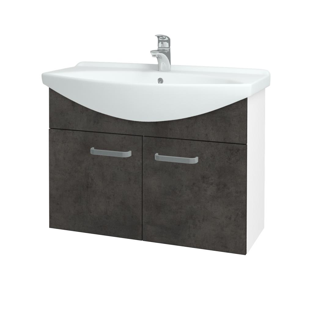 Dřevojas - Koupelnová skříň TAKE IT SZD2 85 - N01 Bílá lesk / Úchytka T01 / D16 Beton tmavý (206222A)