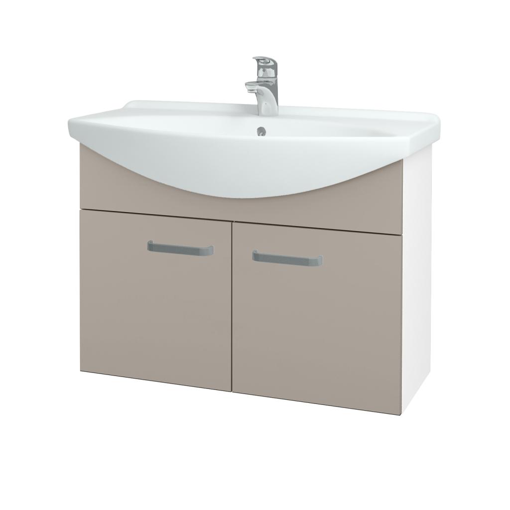 Dřevojas - Koupelnová skříň TAKE IT SZD2 85 - N01 Bílá lesk / Úchytka T01 / N07 Stone (206260A)