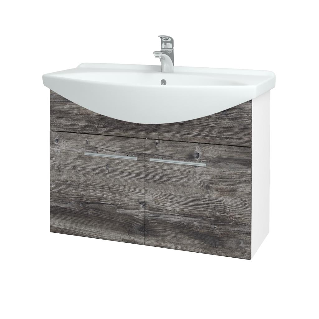 Dřevojas - Koupelnová skříň TAKE IT SZD2 85 - N01 Bílá lesk / Úchytka T02 / D10 Borovice Jackson (206208B)