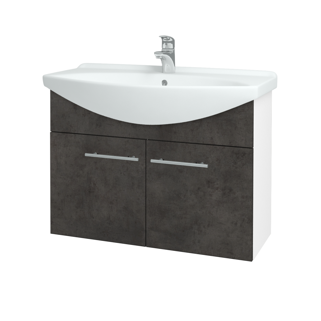 Dřevojas - Koupelnová skříň TAKE IT SZD2 85 - N01 Bílá lesk / Úchytka T02 / D16 Beton tmavý (206222B)