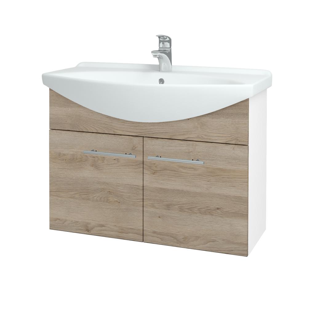 Dřevojas - Koupelnová skříň TAKE IT SZD2 85 - N01 Bílá lesk / Úchytka T02 / D17 Colorado (206239B)