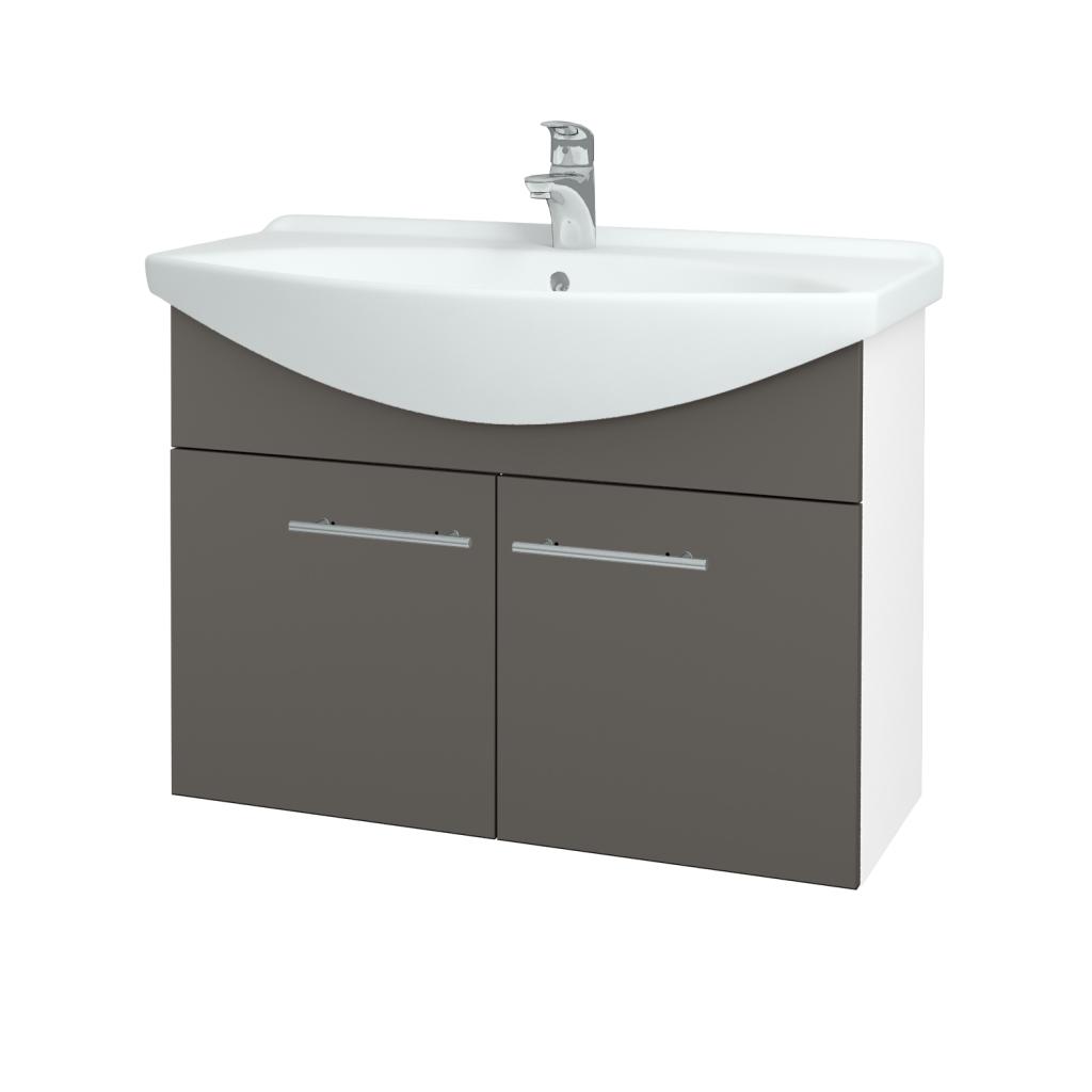 Dřevojas - Koupelnová skříň TAKE IT SZD2 85 - N01 Bílá lesk / Úchytka T02 / N06 Lava (206253B)