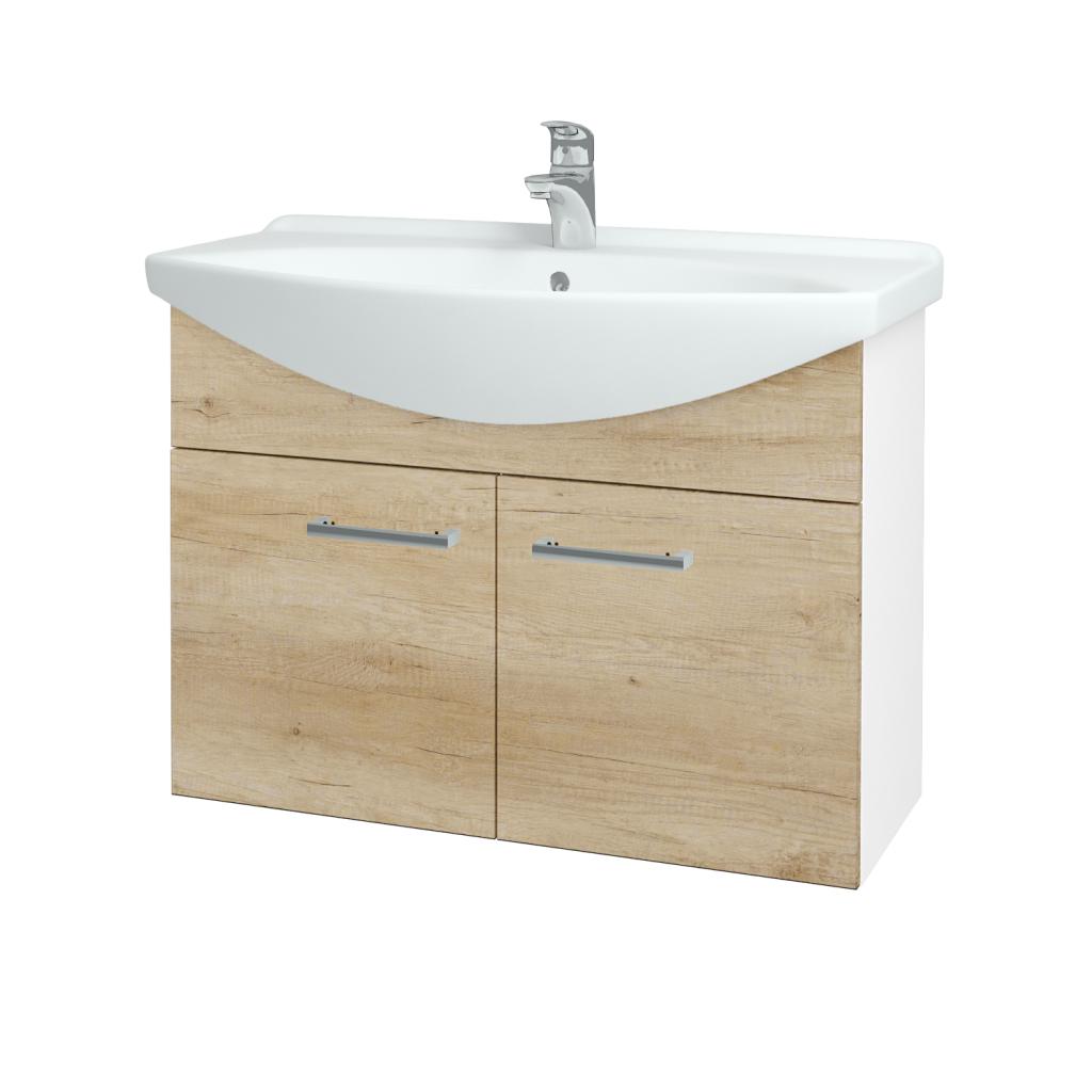 Dřevojas - Koupelnová skříň TAKE IT SZD2 85 - N01 Bílá lesk / Úchytka T03 / D15 Nebraska (206215C)