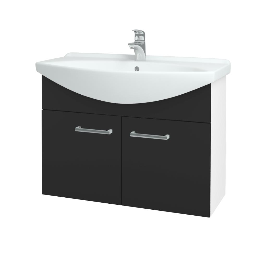 Dřevojas - Koupelnová skříň TAKE IT SZD2 85 - N01 Bílá lesk / Úchytka T03 / N03 Graphite (206246C)