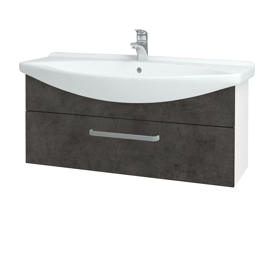 Dřevojas - Koupelnová skříň TAKE IT SZZ 105 - N01 Bílá lesk / Úchytka T01 / D16 Beton tmavý (207182A)