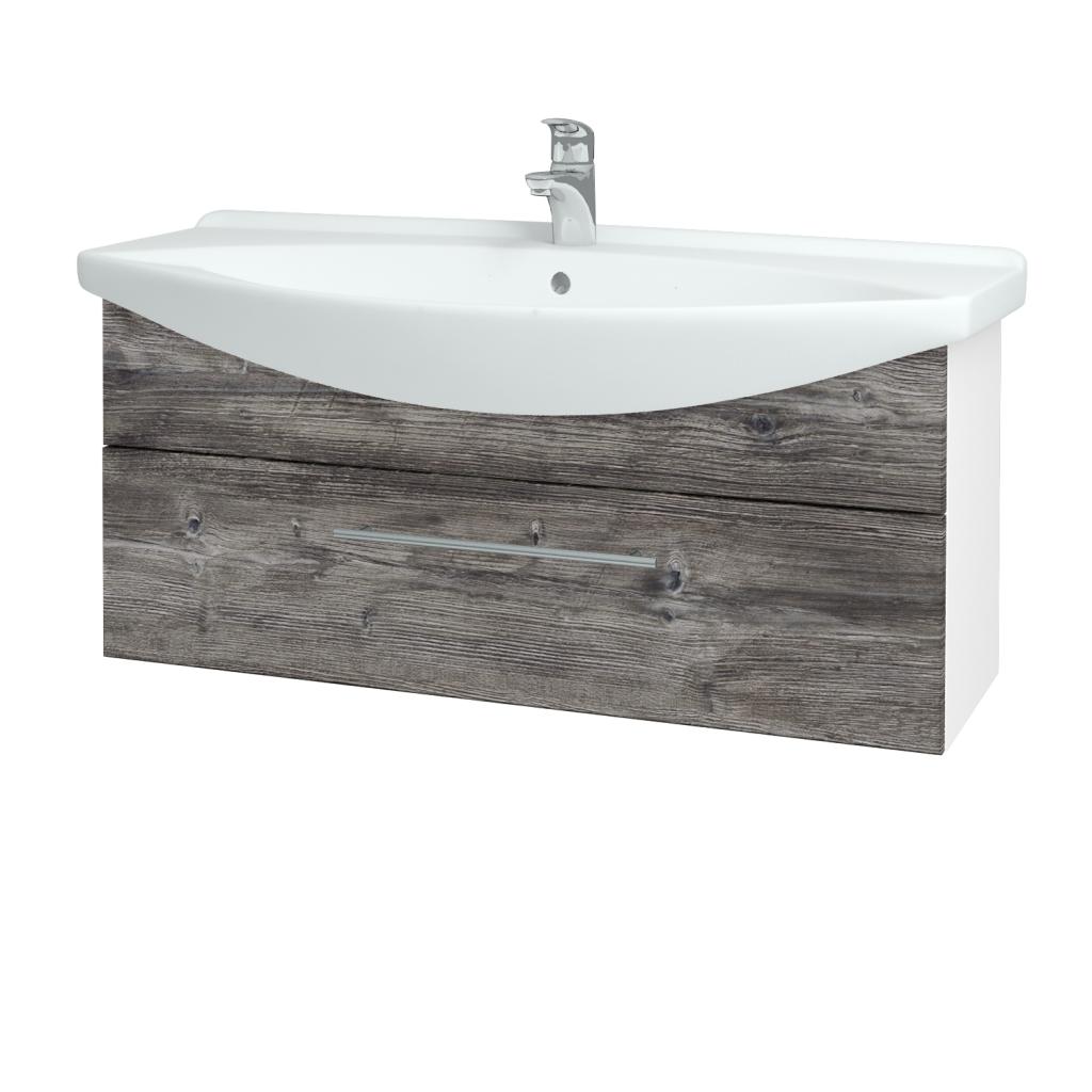 Dřevojas - Koupelnová skříň TAKE IT SZZ 105 - N01 Bílá lesk / Úchytka T02 / D10 Borovice Jackson (207168B)
