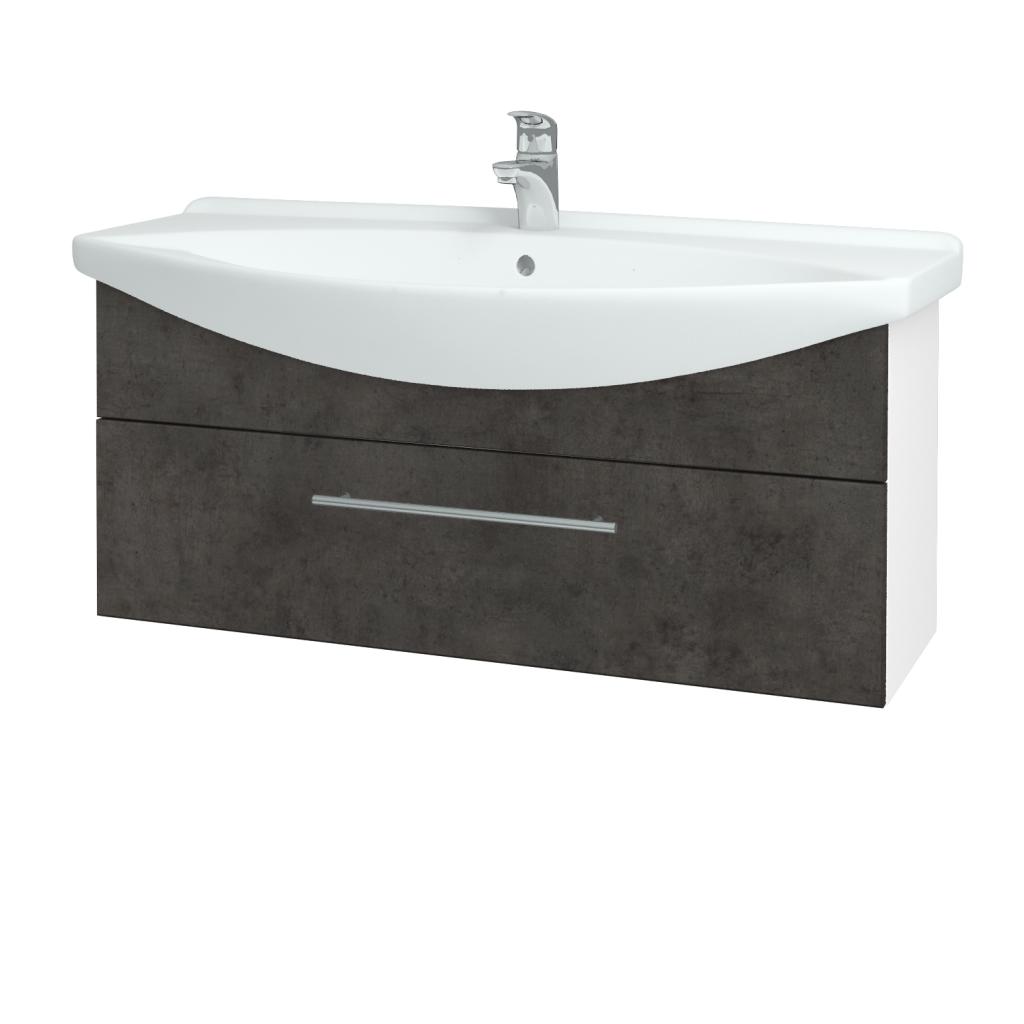 Dřevojas - Koupelnová skříň TAKE IT SZZ 105 - N01 Bílá lesk / Úchytka T02 / D16 Beton tmavý (207182B)