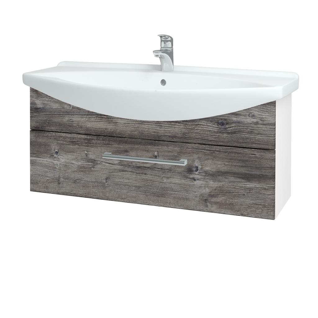 Dřevojas - Koupelnová skříň TAKE IT SZZ 105 - N01 Bílá lesk / Úchytka T03 / D10 Borovice Jackson (207168C)