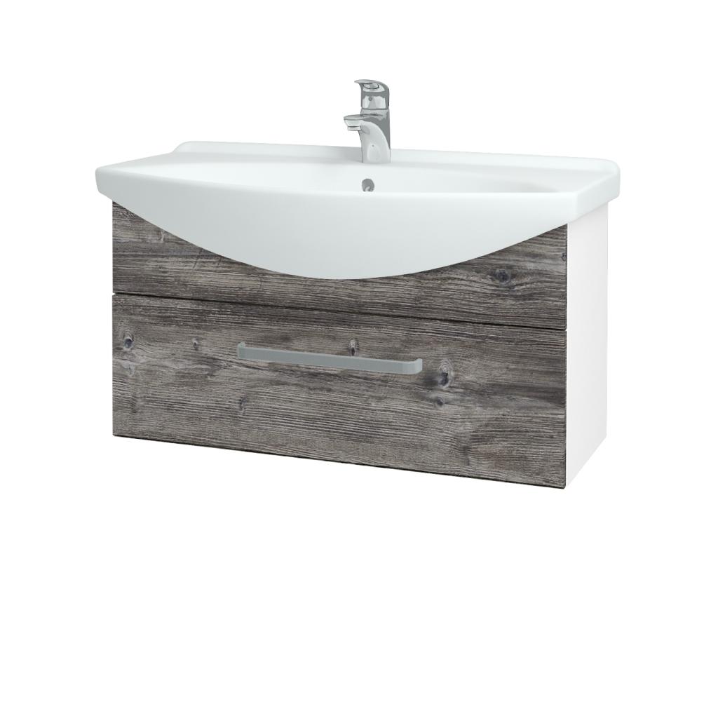 Dřevojas - Koupelnová skříň TAKE IT SZZ 85 - N01 Bílá lesk / Úchytka T01 / D10 Borovice Jackson (207007A)
