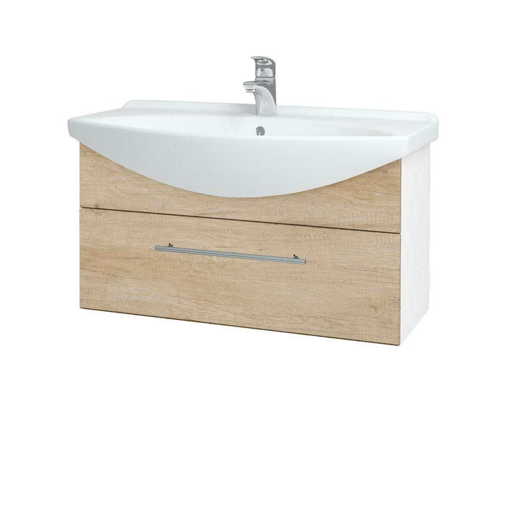 Dřevojas - Koupelnová skříň TAKE IT SZZ 85 - N01 Bílá lesk / Úchytka T02 / D15 Nebraska (207014B)