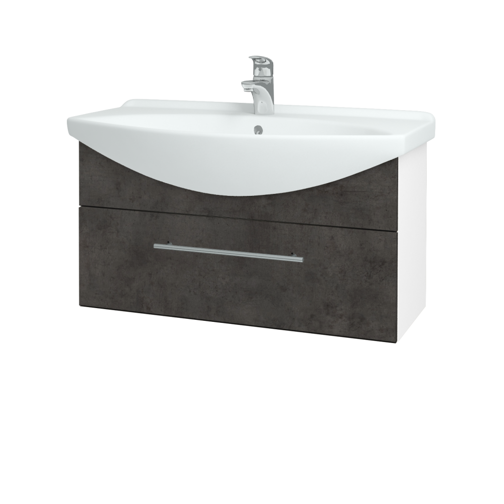 Dřevojas - Koupelnová skříň TAKE IT SZZ 85 - N01 Bílá lesk / Úchytka T02 / D16 Beton tmavý (207021B)