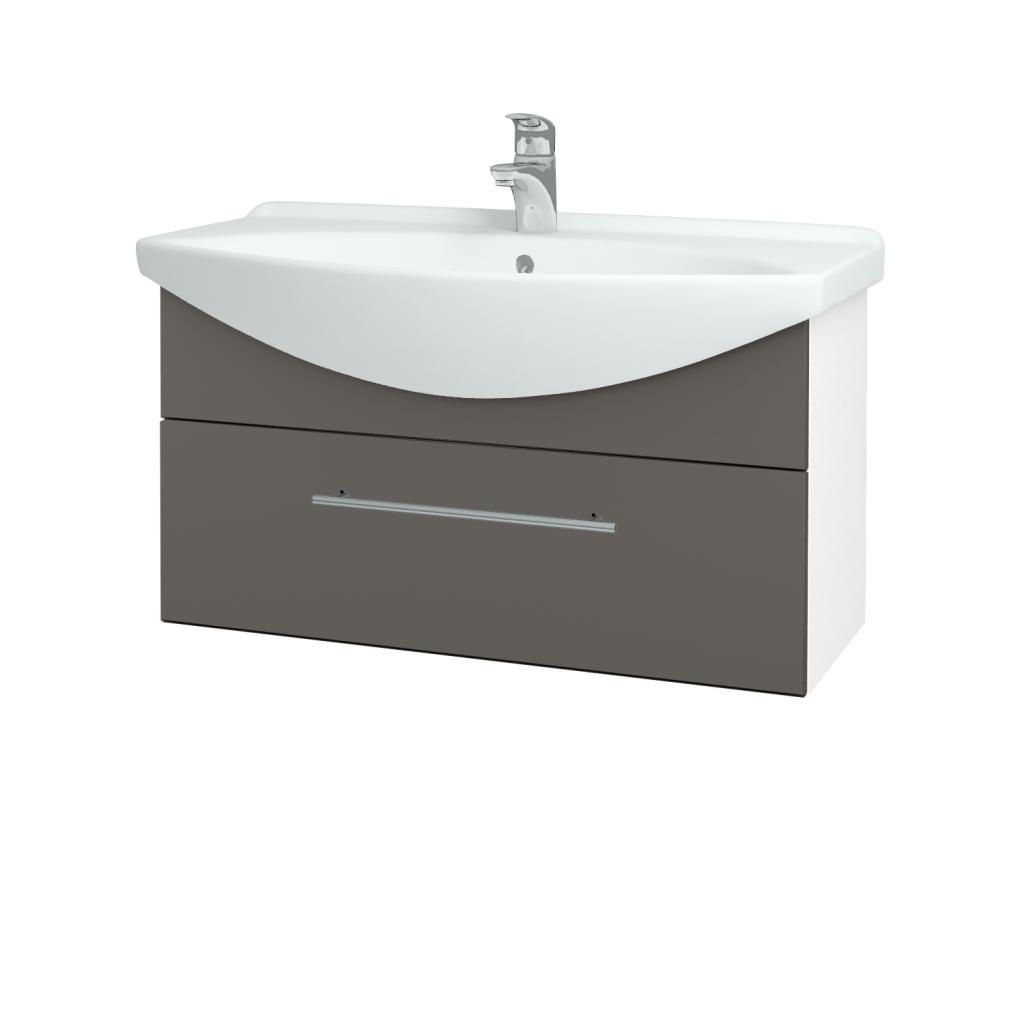 Dřevojas - Koupelnová skříň TAKE IT SZZ 85 - N01 Bílá lesk / Úchytka T02 / N06 Lava (207052B)