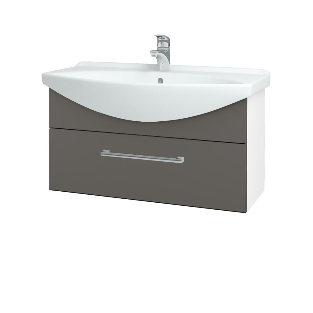 Dřevojas - Koupelnová skříň TAKE IT SZZ 85 - N01 Bílá lesk / Úchytka T03 / N06 Lava (207052C)