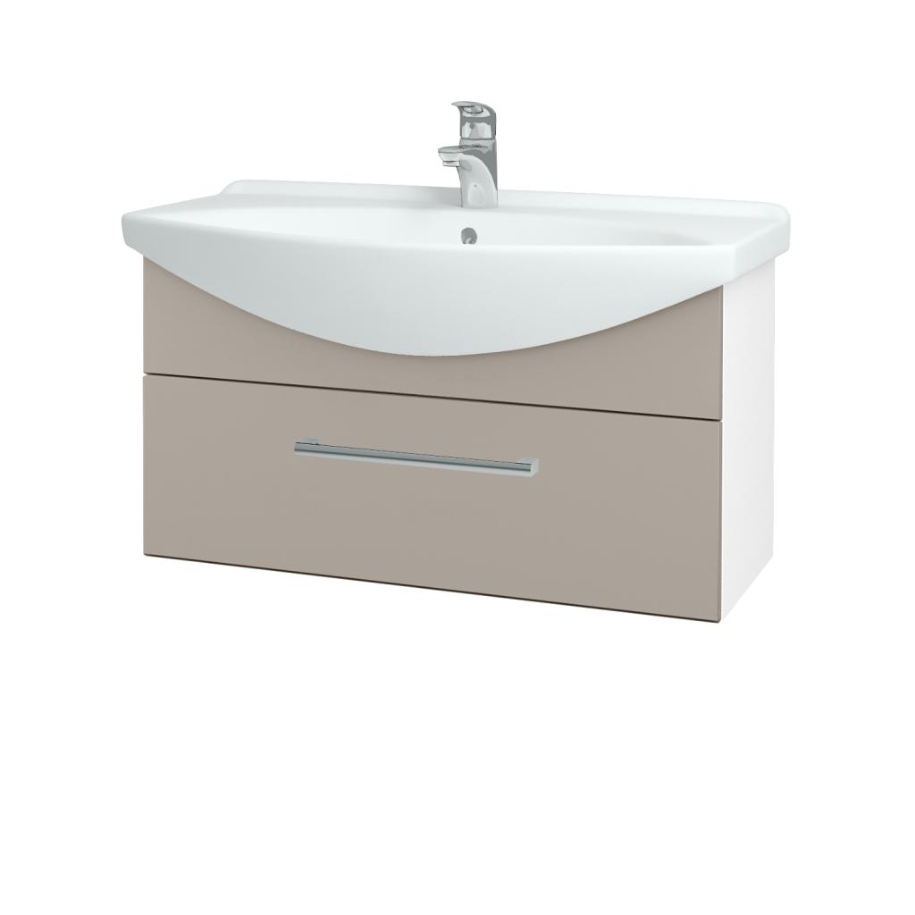 Dřevojas - Koupelnová skříň TAKE IT SZZ 85 - N01 Bílá lesk / Úchytka T03 / N07 Stone (207069C)