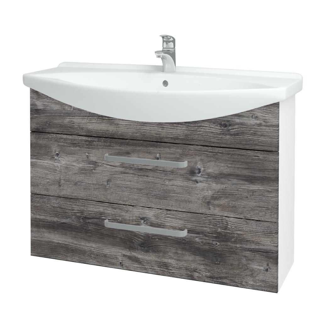 Dřevojas - Koupelnová skříň TAKE IT SZZ2 105 - N01 Bílá lesk / Úchytka T01 / D10 Borovice Jackson (207960A)