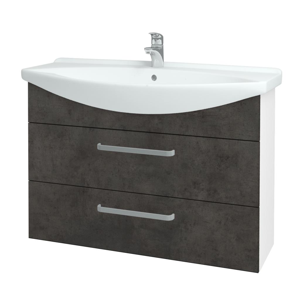 Dřevojas - Koupelnová skříň TAKE IT SZZ2 105 - N01 Bílá lesk / Úchytka T01 / D16 Beton tmavý (207984A)