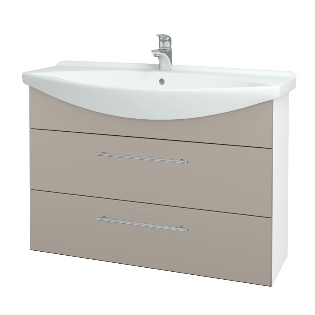 Dřevojas - Koupelnová skříň TAKE IT SZZ2 105 - N01 Bílá lesk / Úchytka T02 / N07 Stone (208028B)
