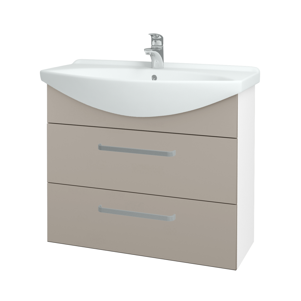 Dřevojas - Koupelnová skříň TAKE IT SZZ2 85 - N01 Bílá lesk / Úchytka T01 / N07 Stone (207861A)