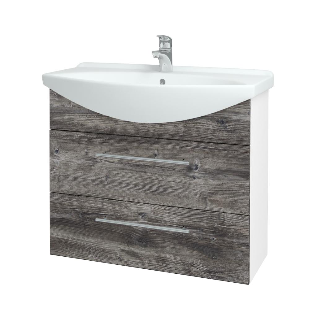 Dřevojas - Koupelnová skříň TAKE IT SZZ2 85 - N01 Bílá lesk / Úchytka T02 / D10 Borovice Jackson (207809B)