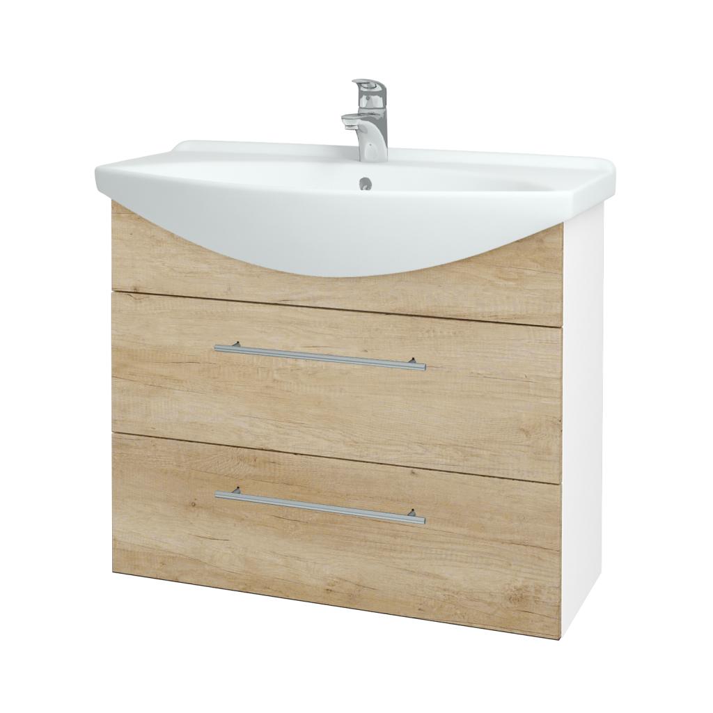 Dřevojas - Koupelnová skříň TAKE IT SZZ2 85 - N01 Bílá lesk / Úchytka T02 / D15 Nebraska (207816B)
