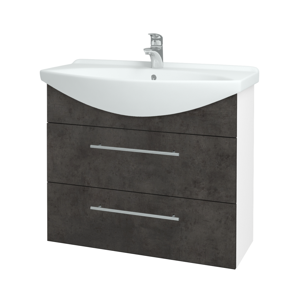 Dřevojas - Koupelnová skříň TAKE IT SZZ2 85 - N01 Bílá lesk / Úchytka T02 / D16 Beton tmavý (207823B)