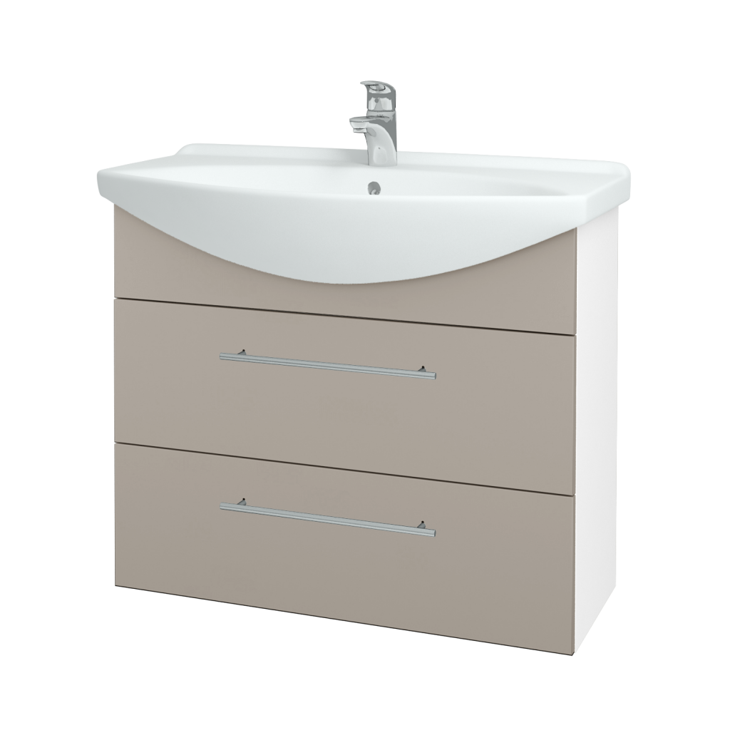 Dřevojas - Koupelnová skříň TAKE IT SZZ2 85 - N01 Bílá lesk / Úchytka T02 / N07 Stone (207861B)