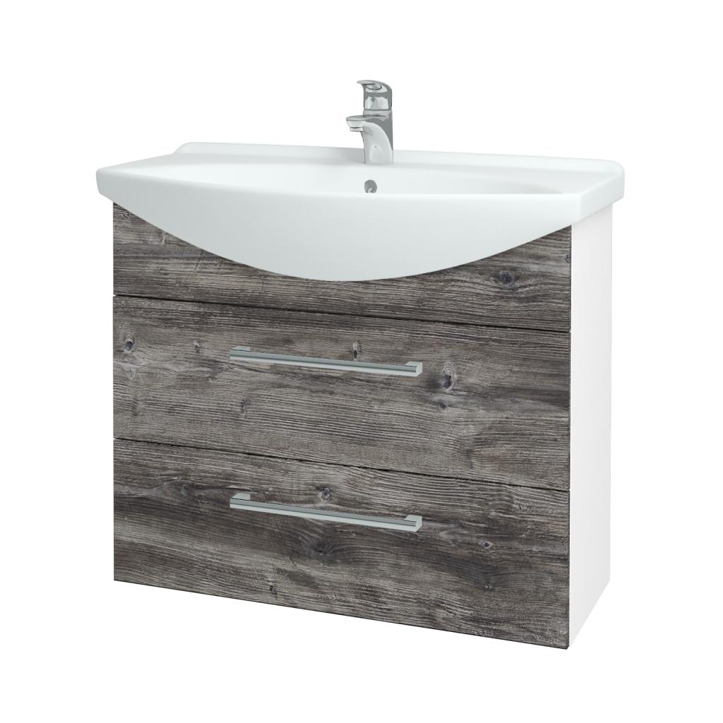 Dřevojas - Koupelnová skříň TAKE IT SZZ2 85 - N01 Bílá lesk / Úchytka T03 / D10 Borovice Jackson (207809C)