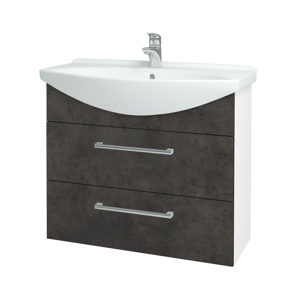Dřevojas - Koupelnová skříň TAKE IT SZZ2 85 - N01 Bílá lesk / Úchytka T03 / D16 Beton tmavý (207823C)