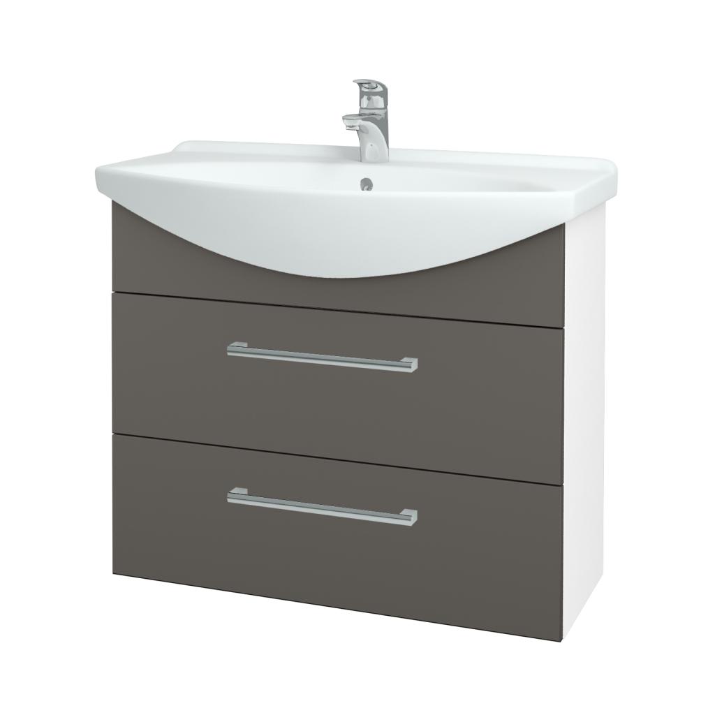 Dřevojas - Koupelnová skříň TAKE IT SZZ2 85 - N01 Bílá lesk / Úchytka T03 / N06 Lava (207854C)