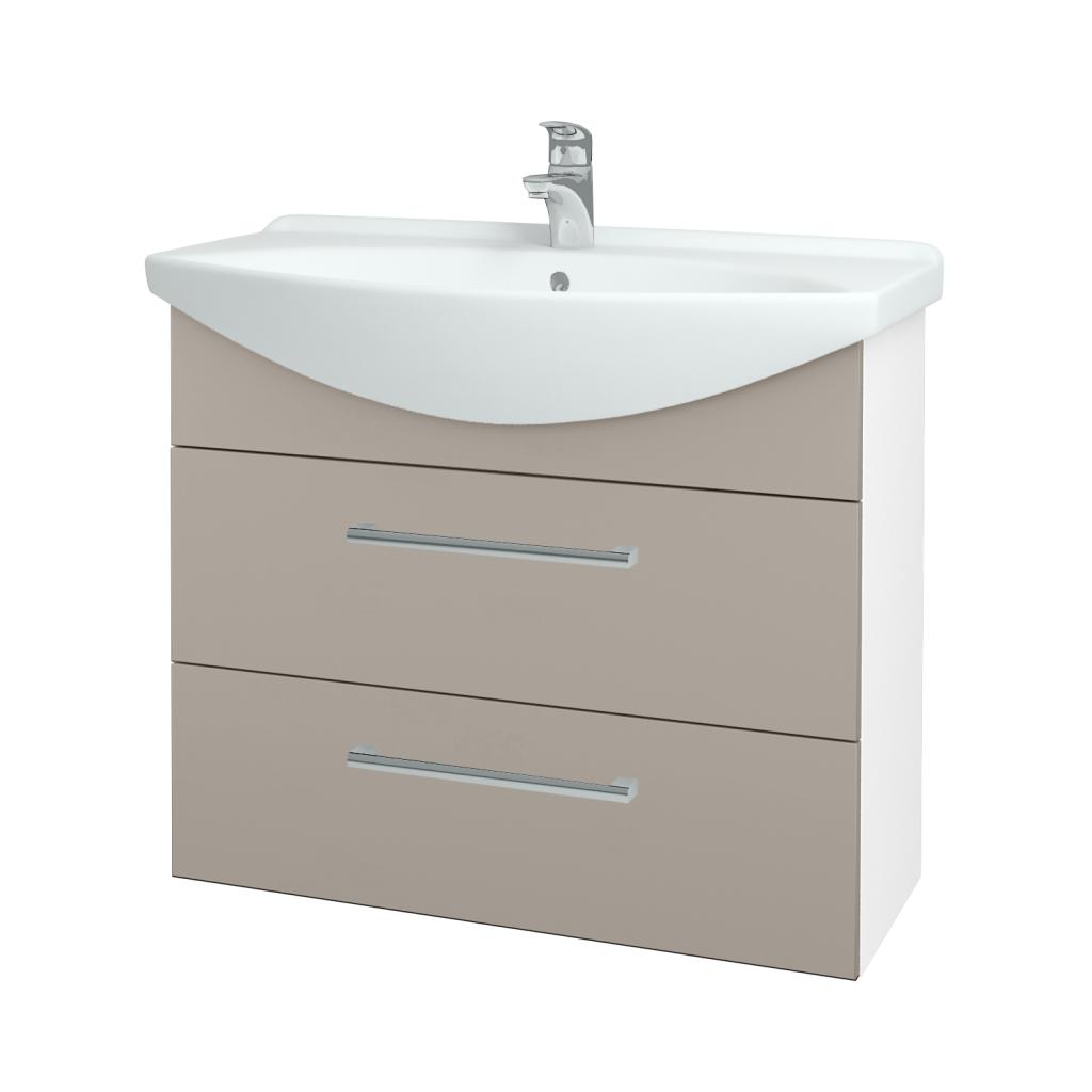 Dřevojas - Koupelnová skříň TAKE IT SZZ2 85 - N01 Bílá lesk / Úchytka T03 / N07 Stone (207861C)