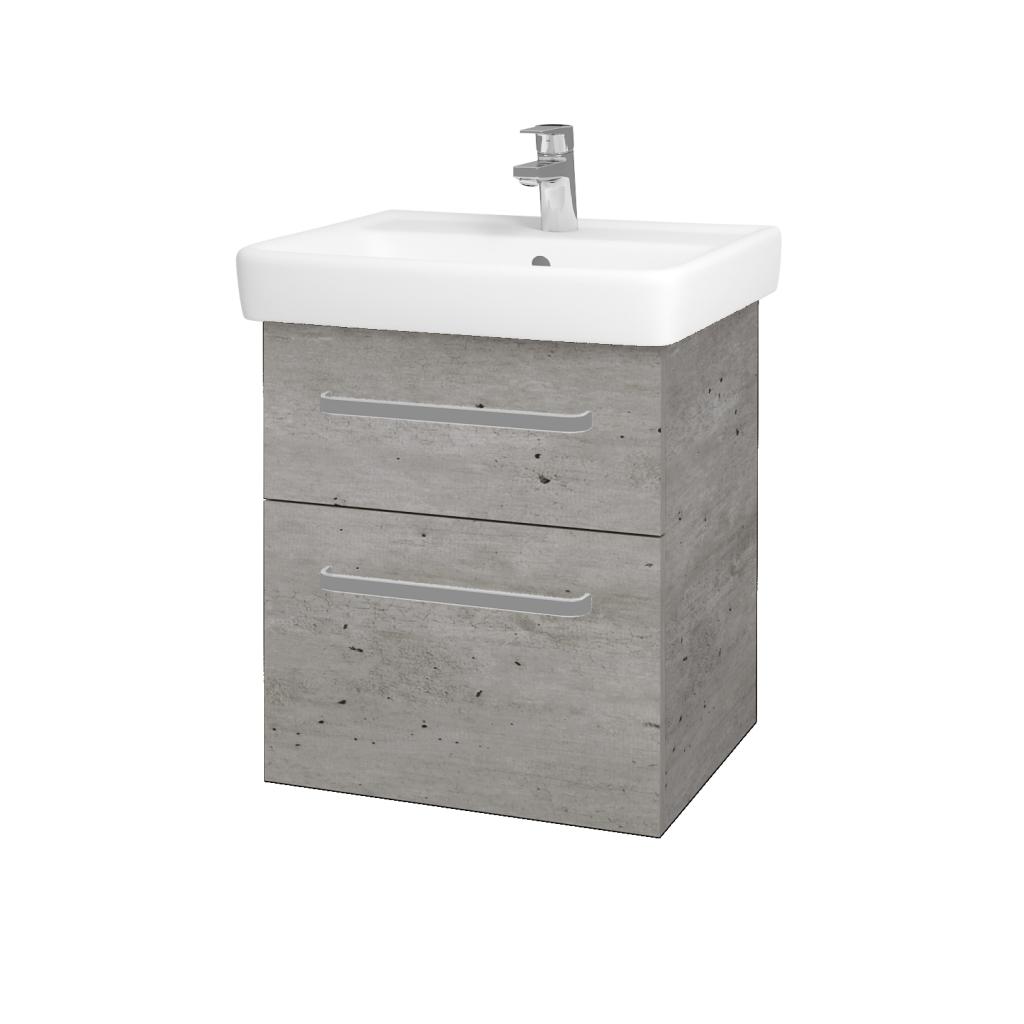 Dřevojas - Koupelnová skříňka Q MAX SZZ2 55 - D01 Beton / Úchytka T01 / D01 Beton (67512A)