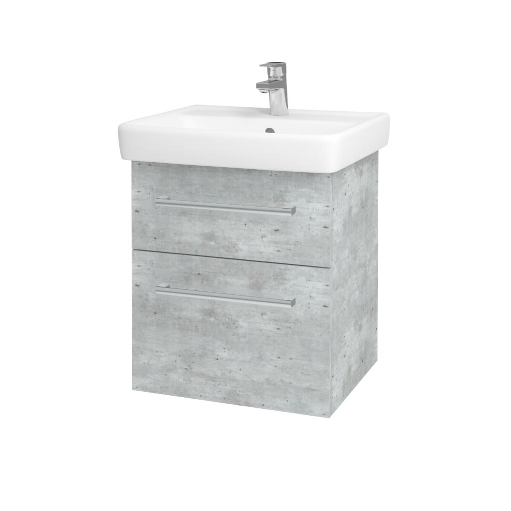 Dřevojas - Koupelnová skříňka Q MAX SZZ2 55 - D01 Beton / Úchytka T03 / D01 Beton (67512C)