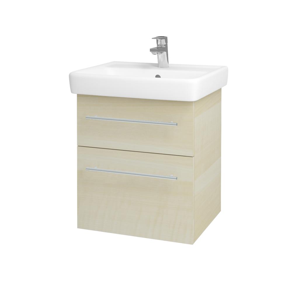Dřevojas - Koupelnová skříňka Q MAX SZZ2 55 - D02 Bříza / Úchytka T02 / D02 Bříza (61152B)