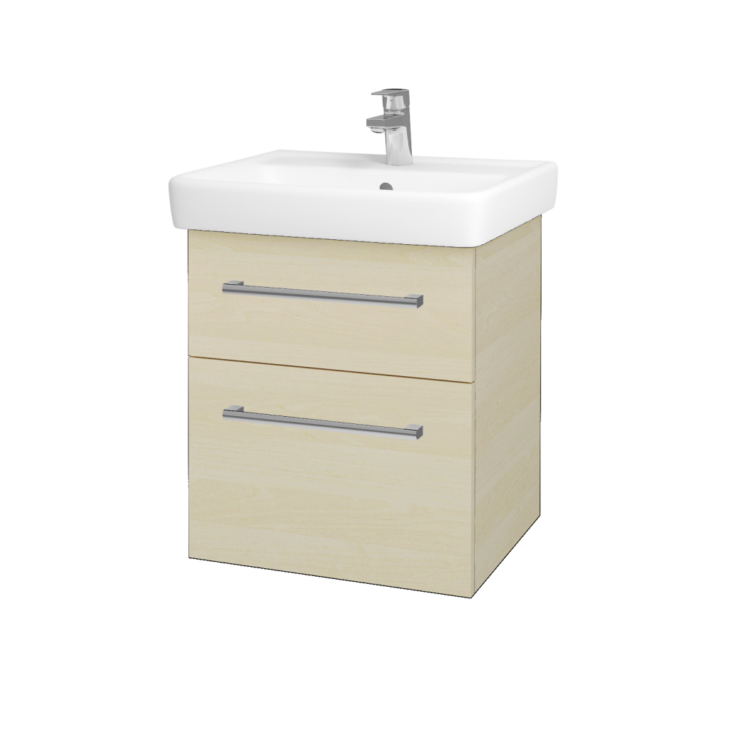 Dřevojas - Koupelnová skříňka Q MAX SZZ2 55 - D02 Bříza / Úchytka T03 / D02 Bříza (61152C)