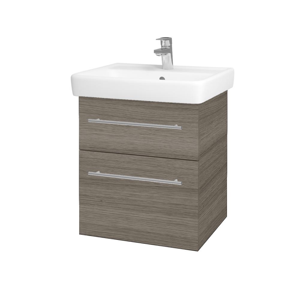 Dřevojas - Koupelnová skříňka Q MAX SZZ2 55 - D03 Cafe / Úchytka T02 / D03 Cafe (68434B)