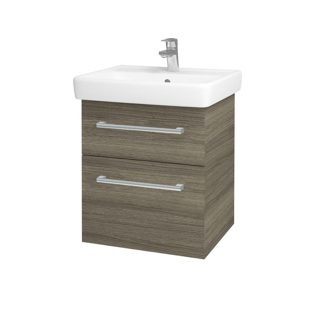 Dřevojas - Koupelnová skříňka Q MAX SZZ2 55 - D03 Cafe / Úchytka T03 / D03 Cafe (68434C)