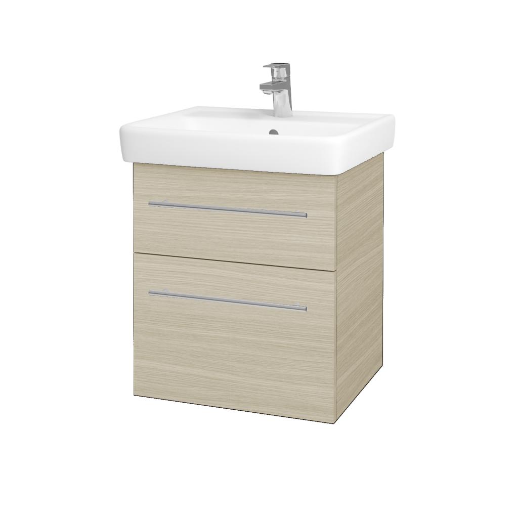 Dřevojas - Koupelnová skříňka Q MAX SZZ2 55 - D04 Dub / Úchytka T02 / D04 Dub (61282B)