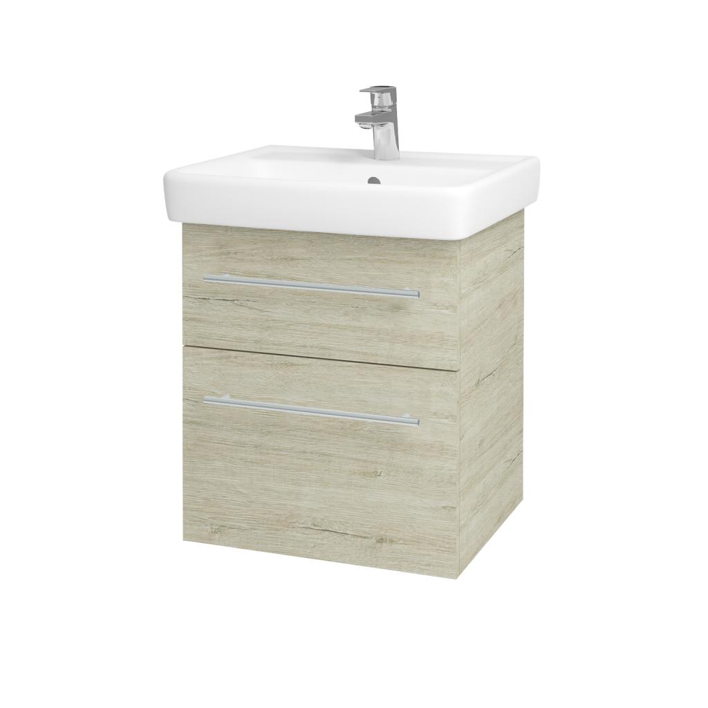 Dřevojas - Koupelnová skříňka Q MAX SZZ2 55 - D05 Oregon / Úchytka T02 / D05 Oregon (61305B)