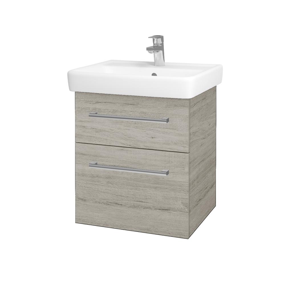 Dřevojas - Koupelnová skříňka Q MAX SZZ2 55 - D05 Oregon / Úchytka T03 / D05 Oregon (61305C)