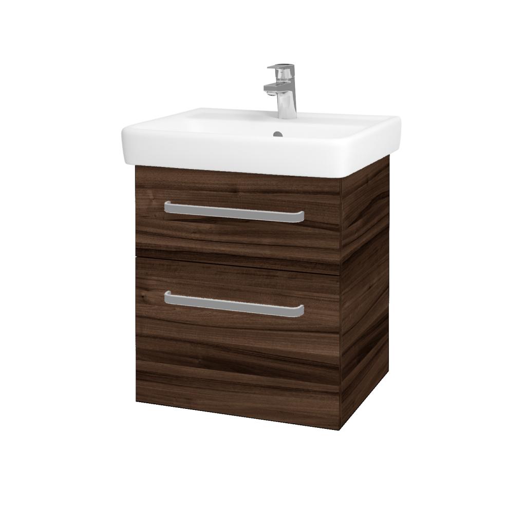 Dřevojas - Koupelnová skříňka Q MAX SZZ2 55 - D06 Ořech / Úchytka T01 / D06 Ořech (61299A)