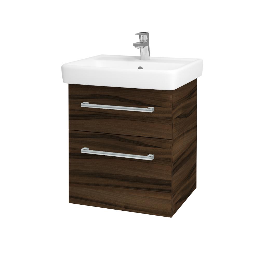 Dřevojas - Koupelnová skříňka Q MAX SZZ2 55 - D06 Ořech / Úchytka T03 / D06 Ořech (61299C)