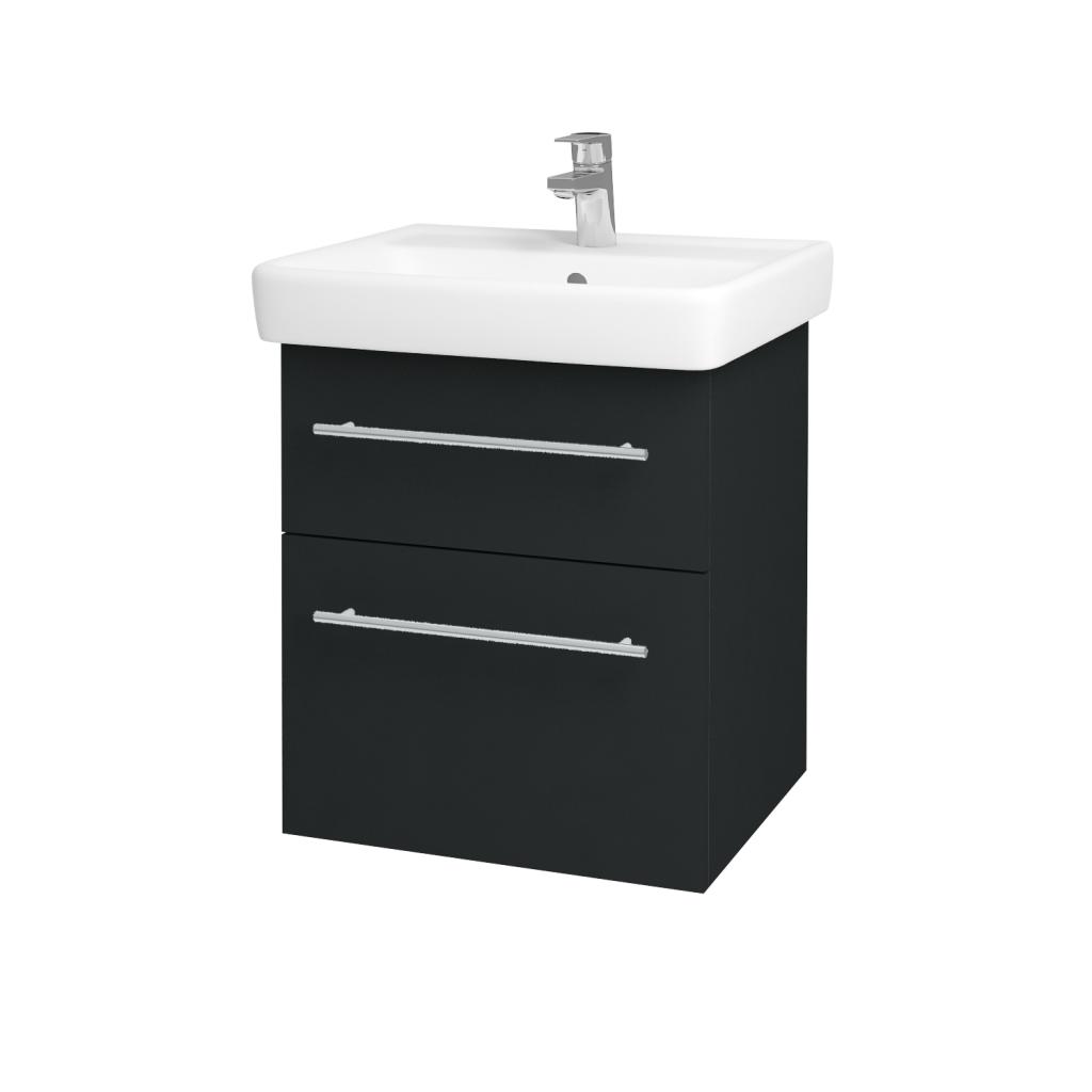 Dřevojas - Koupelnová skříňka Q MAX SZZ2 55 - L03 Antracit vysoký lesk / Úchytka T02 / L03 Antracit vysoký lesk (60360B)