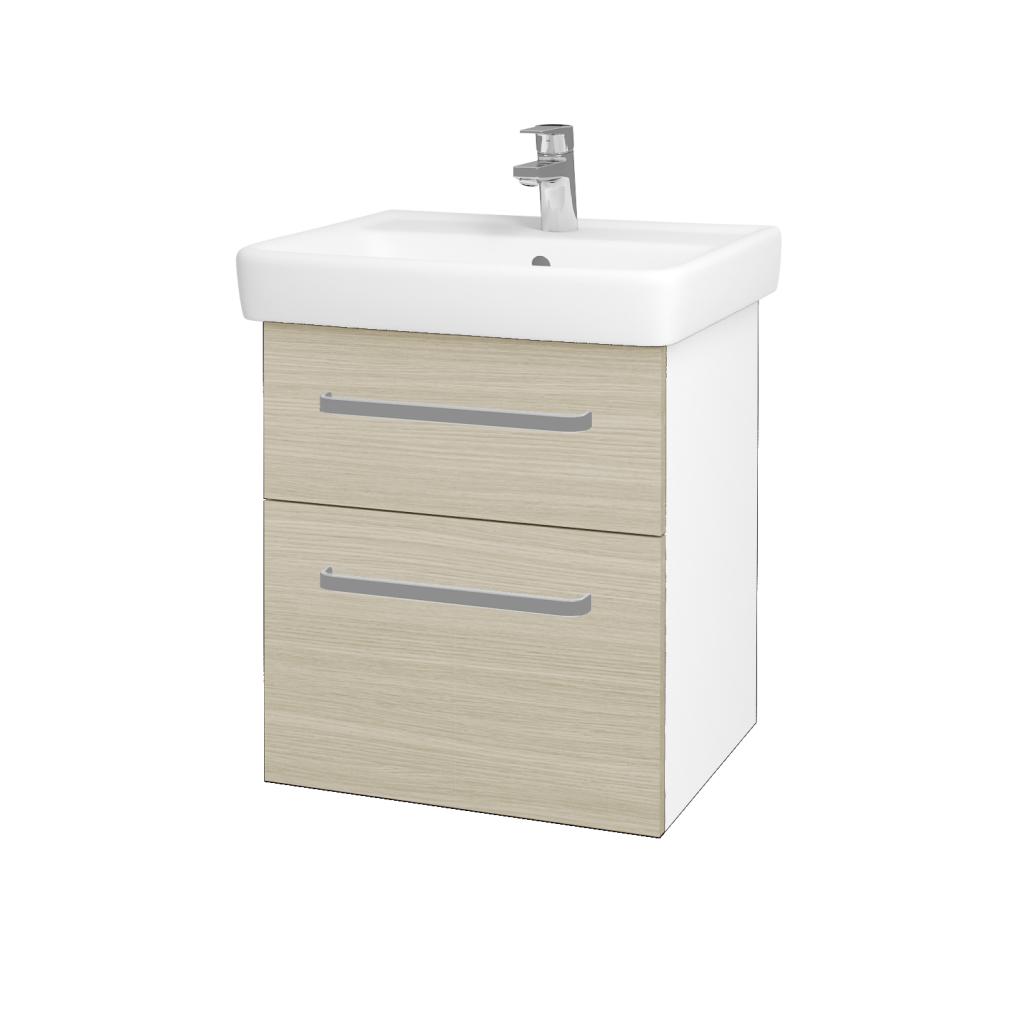 Dřevojas - Koupelnová skříňka Q MAX SZZ2 55 - N01 Bílá lesk / Úchytka T01 / D04 Dub (61220A)