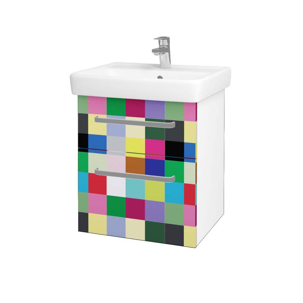 Dřevojas - Koupelnová skříňka Q MAX SZZ2 55 - N01 Bílá lesk / Úchytka T01 / IND Individual (61541A)
