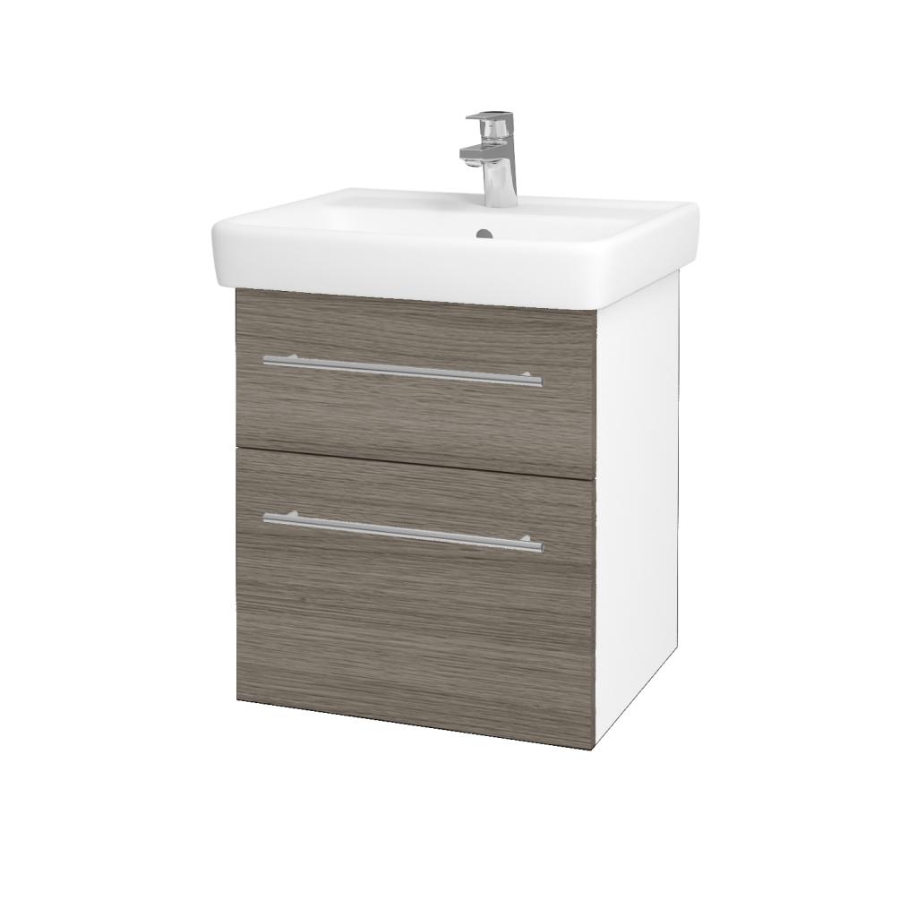 Dřevojas - Koupelnová skříňka Q MAX SZZ2 55 - N01 Bílá lesk / Úchytka T02 / D03 Cafe (68397B)