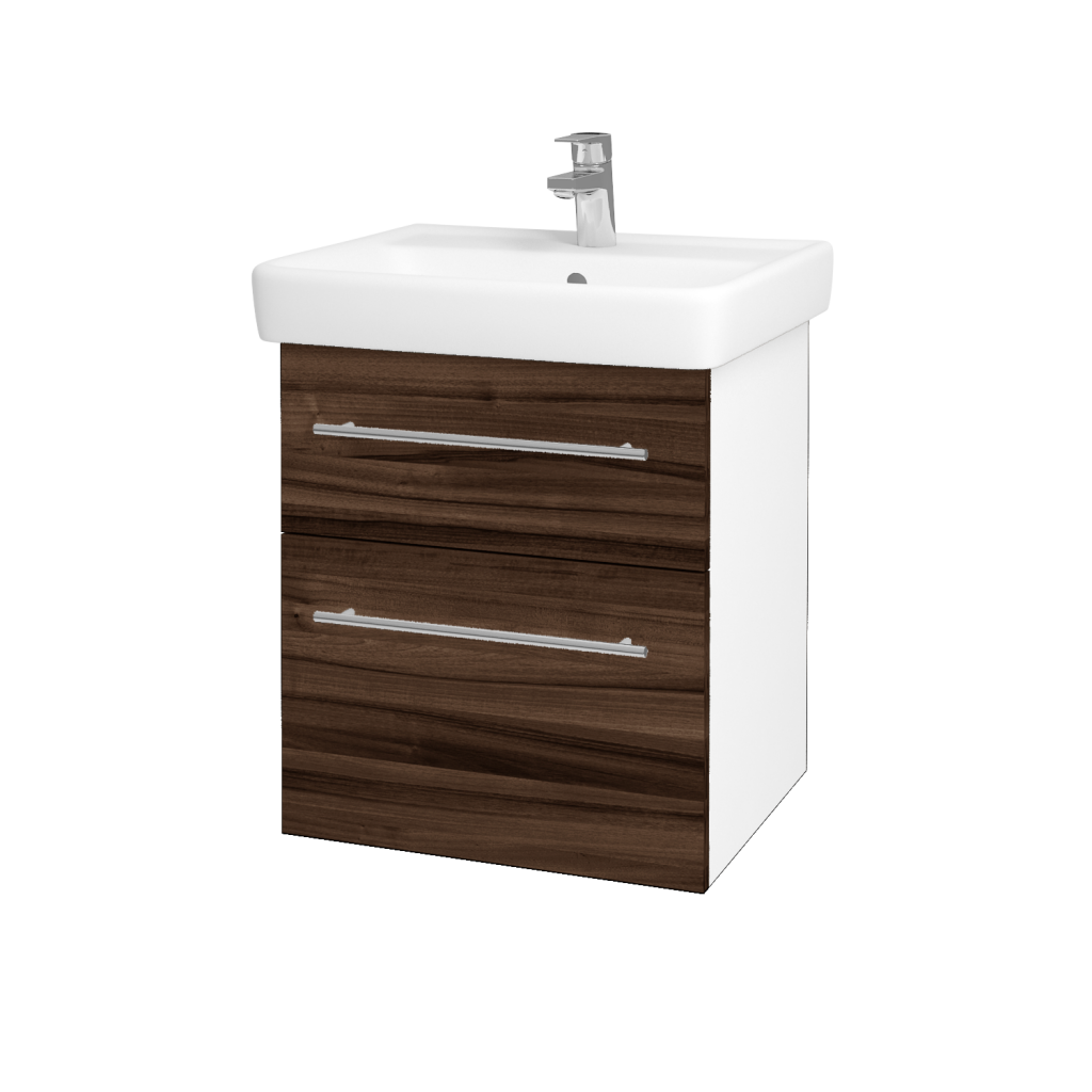 Dřevojas - Koupelnová skříňka Q MAX SZZ2 55 - N01 Bílá lesk / Úchytka T02 / D06 Ořech (61237B)