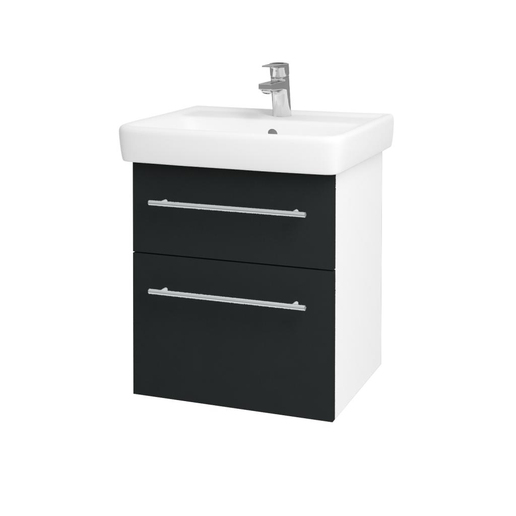 Dřevojas - Koupelnová skříňka Q MAX SZZ2 55 - N01 Bílá lesk / Úchytka T02 / L03 Antracit vysoký lesk (61244B)