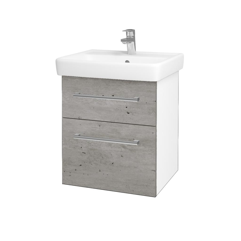 Dřevojas - Koupelnová skříňka Q MAX SZZ2 55 - N01 Bílá lesk / Úchytka T03 / D01 Beton (67475C)