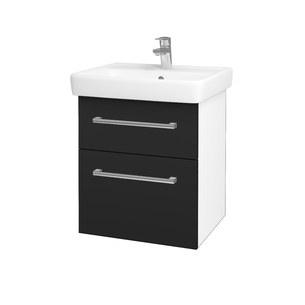 Dřevojas - Koupelnová skříňka Q MAX SZZ2 55 - N01 Bílá lesk / Úchytka T03 / L03 Antracit vysoký lesk (61244C)
