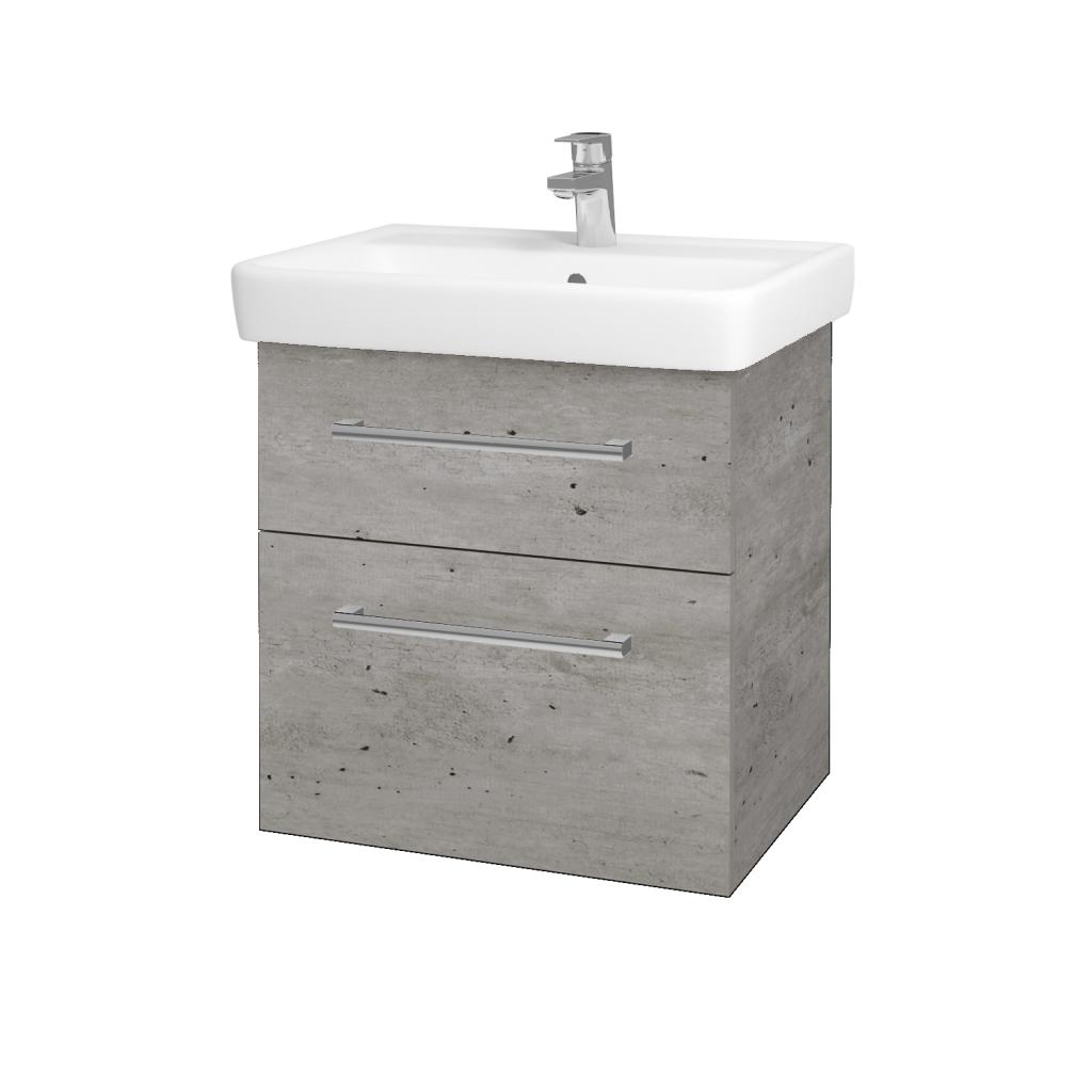 Dřevojas - Koupelnová skříňka Q MAX SZZ2 60 - D01 Beton / Úchytka T03 / D01 Beton (67529C)